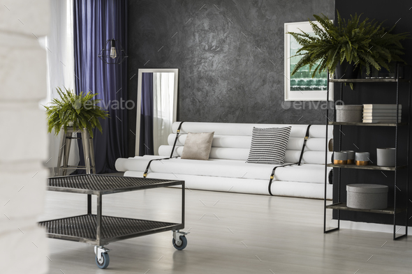 Industrial table in living room - Stock Photo - Images