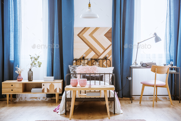 Wooden table in kid's bedroom - Stock Photo - Images