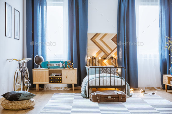 Cozy teenager's bedroom interior - Stock Photo - Images