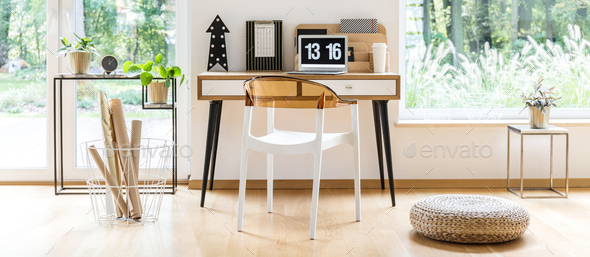 Pouf in designer home office - Stock Photo - Images