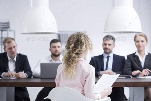 Woman during job interview - Stock Photo - Images