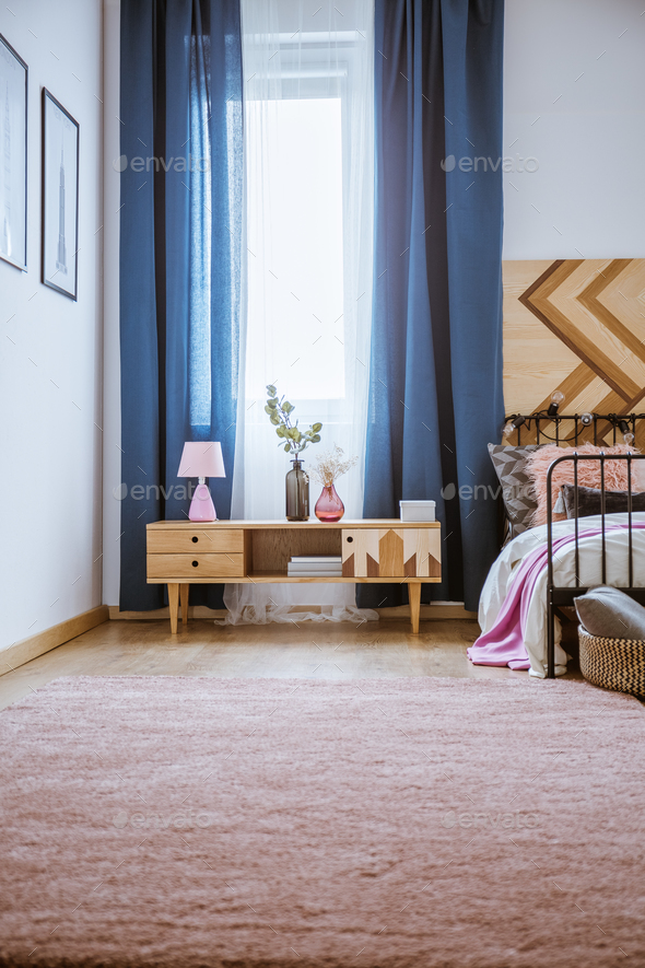Pastel bedroom interior with cupboard - Stock Photo - Images