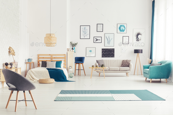 Blue open space interior - Stock Photo - Images