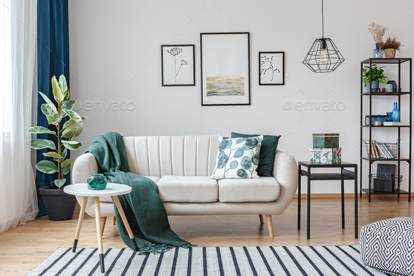 Posters in cozy apartment interior - Stock Photo - Images