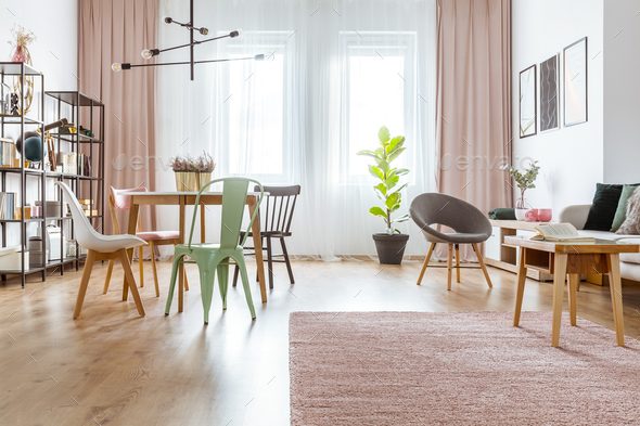 Spacious interior with pink drapes - Stock Photo - Images