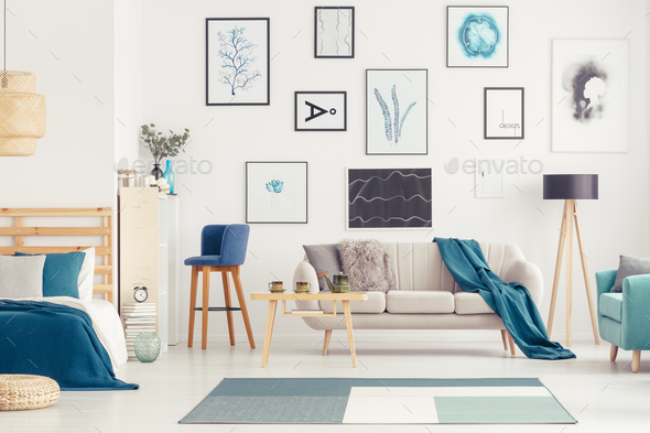 Blue open space with posters - Stock Photo - Images
