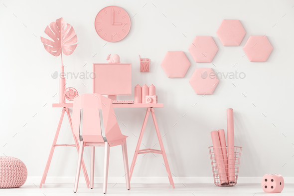 Pastel pink and white interior - Stock Photo - Images