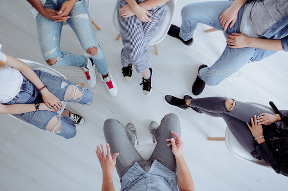 High angle of teenagers meeting - Stock Photo - Images