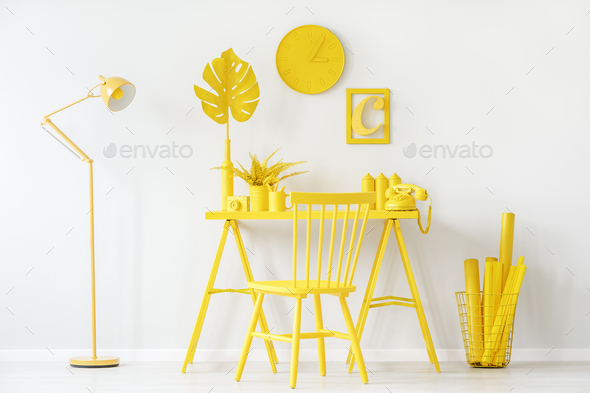 White and yellow room - Stock Photo - Images