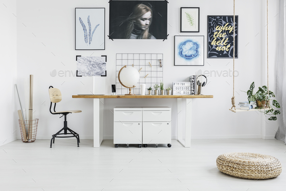 Pouf in white workspace interior - Stock Photo - Images