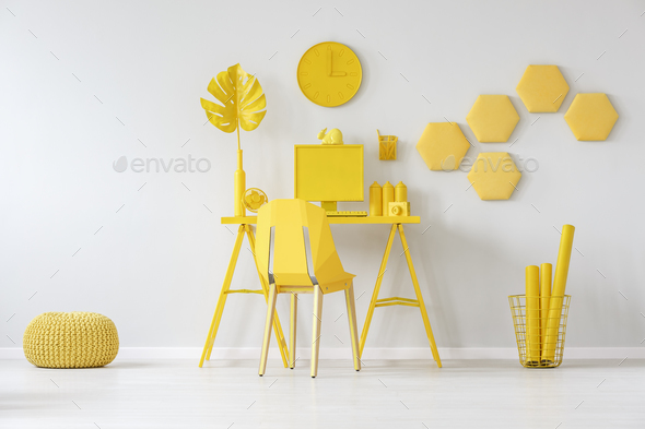 Honeycombs in yellow room interior - Stock Photo - Images