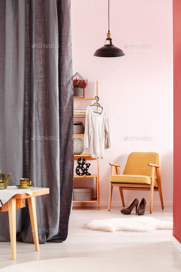 Dressing room with vintage armchair - Stock Photo - Images