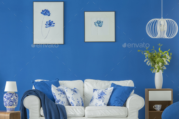 Blue floral living room - Stock Photo - Images