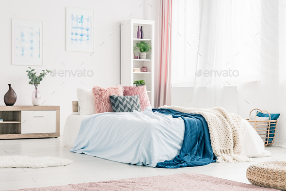 Pink and blue bedroom interior - Stock Photo - Images