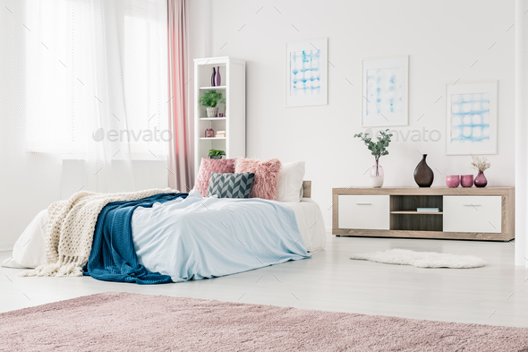 Blue and pink bedroom interior - Stock Photo - Images