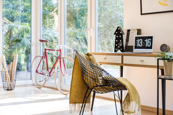Bike at home office - Stock Photo - Images