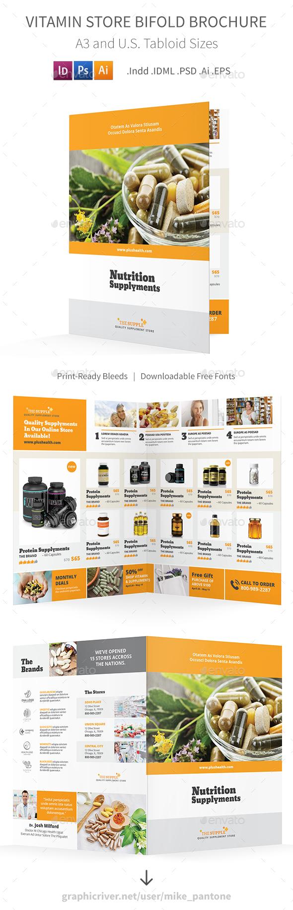Vitamin Store Bifold / Halffold Brochure - Informational Brochures