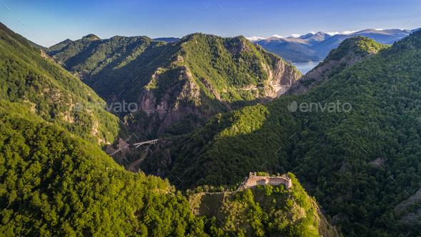 ruined Poenari Castle on Mount Cetatea in Romania - Stock Photo - Images
