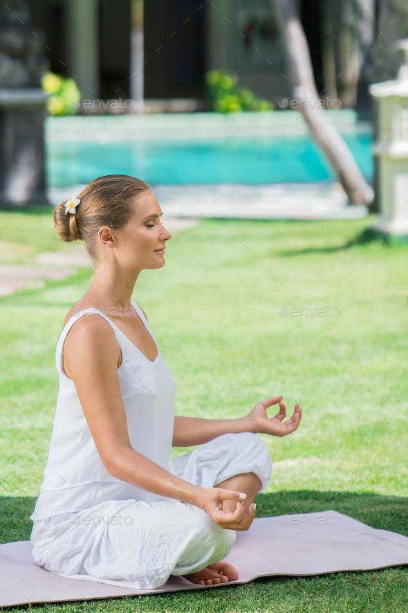 Meditation girl outdoors - Stock Photo - Images