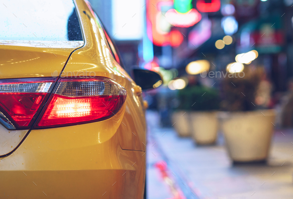 Yellow car outdoors - Stock Photo - Images