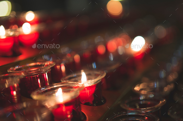 Burning candles indoors - Stock Photo - Images