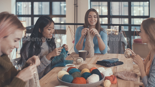 At knitting lesson - Stock Photo - Images