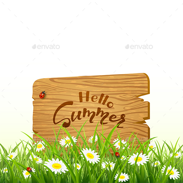 Lettering Hello Summer on Wooden Board and Nature Background with Grass - Seasons Nature