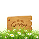 Lettering Hello Summer on Wooden Board and Nature Background with Grass