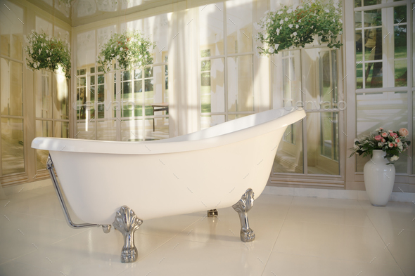 bathroom interior with free-standing bathtub - Stock Photo - Images