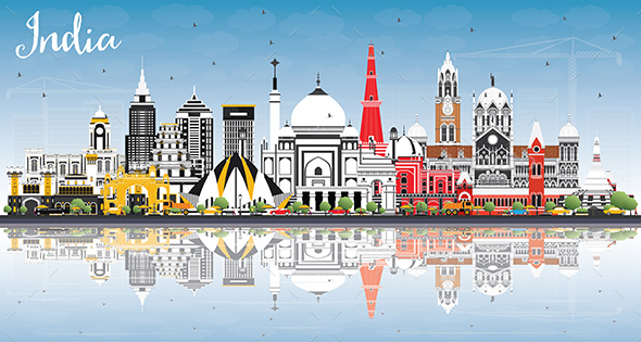 India City Skyline with Color Buildings, Blue Sky and Reflections - Buildings Objects