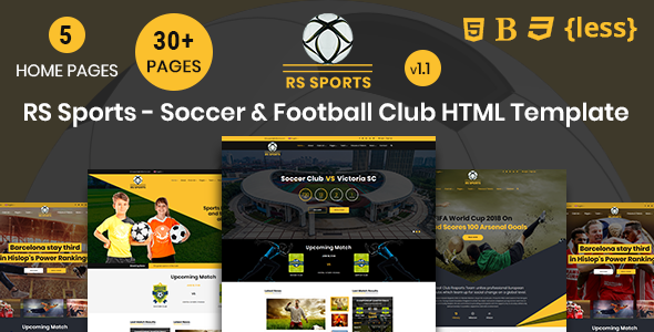 RS Sports - Soccer & Football Club HTML Template - Entertainment Site Templates