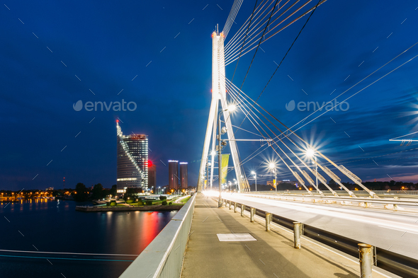 Riga Latvia. Close View Of Deserted Vansu Cable-Stayed Bridge In - Stock Photo - Images