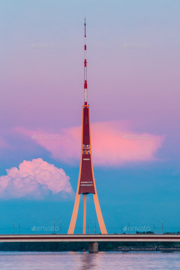 Riga, Latvia. Famous Landmark Television Tower In Pink Purple Su - Stock Photo - Images