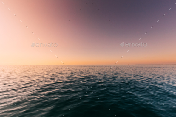 Sea Or Ocean And Colorful Sunset Or Sunrise Sky Background - Stock Photo - Images