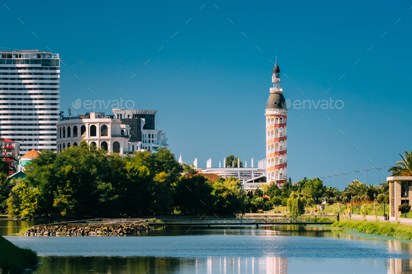 Batumi, Adjara, Georgia. Multi-storey Residential House And Old - Stock Photo - Images