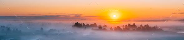 Amazing Sunrise Over Misty Landscape. Scenic View Of Foggy Morni - Stock Photo - Images