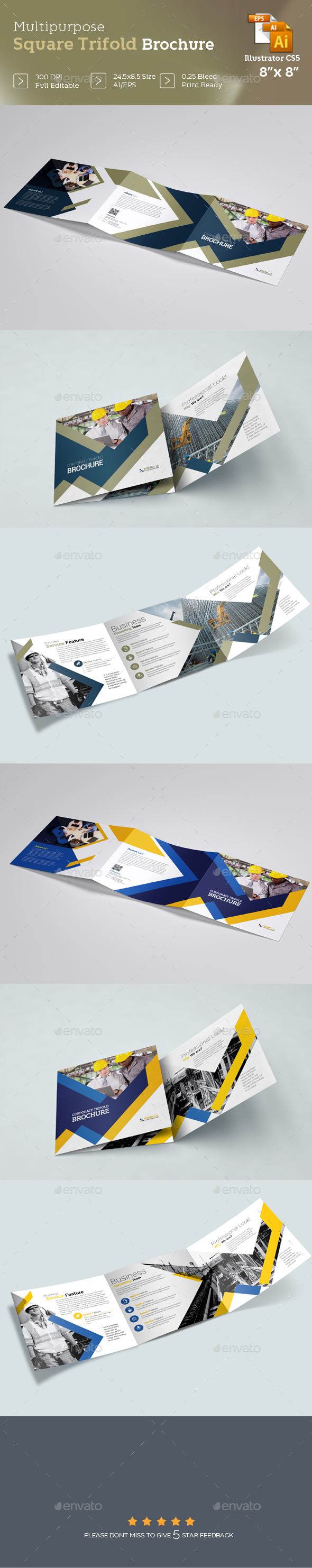 Business Square Trifold Brochure Template - Brochures Print Templates