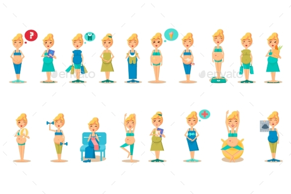 Pregnant Woman Character in Different Situations - People Characters