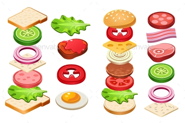 Burger and Sandwich Ingredients Set, Bun, Cheese - Food Objects
