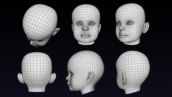 Human Baby Head Low Poly Base Mesh - 3DOcean Item for Sale