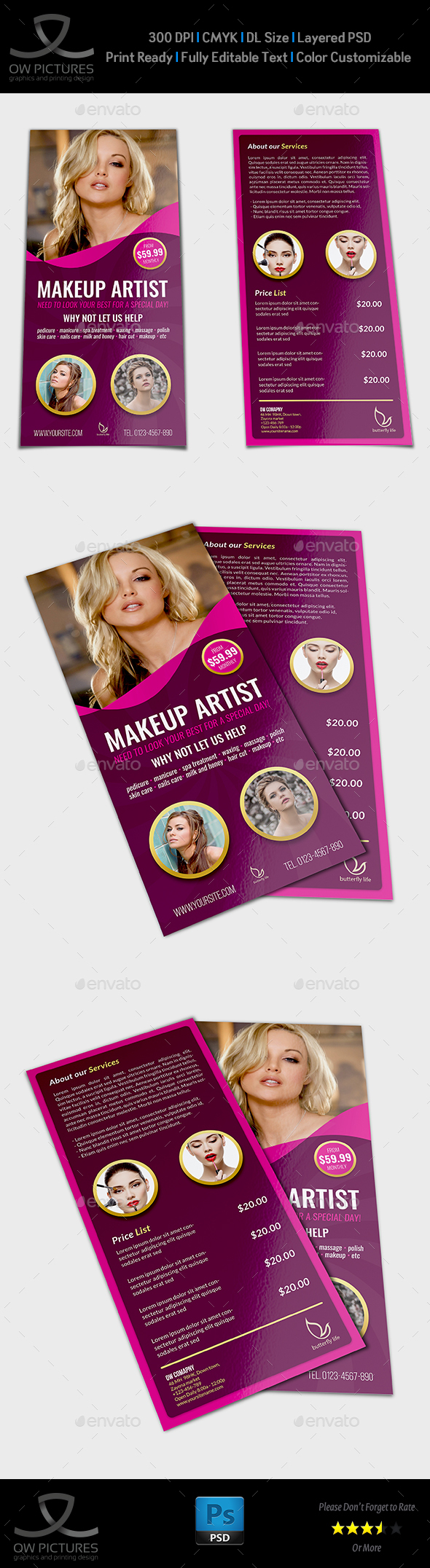 Beauty Center Flyer DL Size Template Vol.2 - Flyers Print Templates