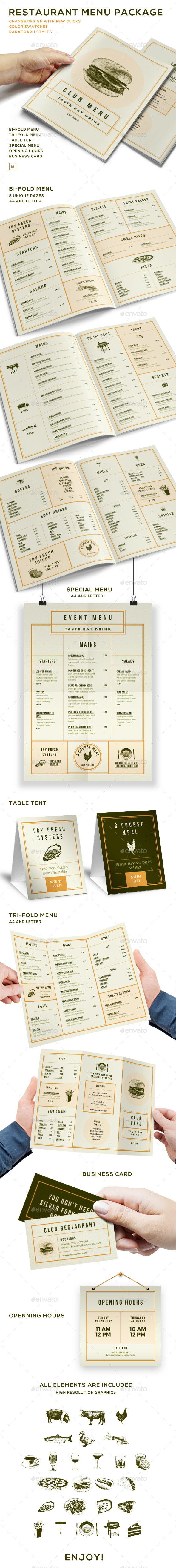 Elegant Food Menu - Restaurant Package - Food Menus Print Templates