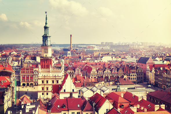 Aerial view of the Poznan Old Town, Poland. - Stock Photo - Images