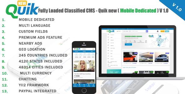 Fully Loaded Classified CMS - Quik new V 1.1 Free Download | Nulled