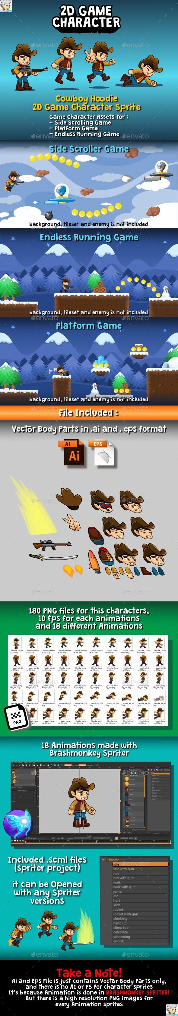 Cowboy Hoodie 2D Game Character Sprite - Sprites Game Assets