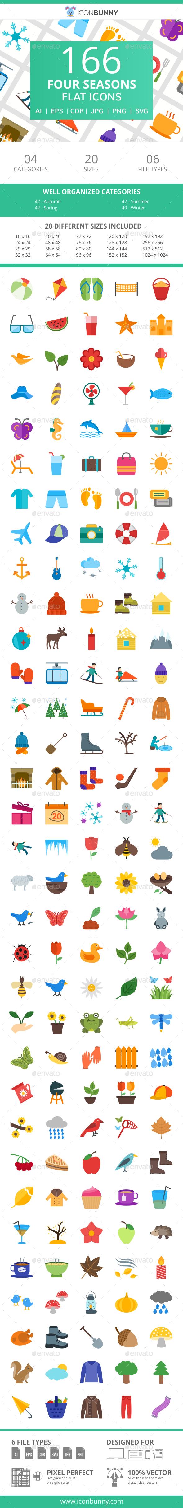 166 Four Seasons Flat Icons - Icons