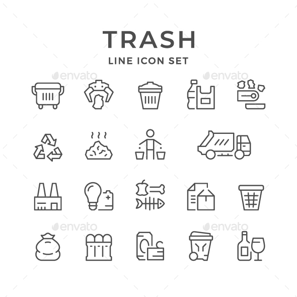 Set Line Icons of Trash - Man-made objects Objects