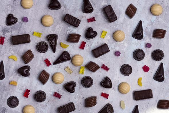 Assortment of fine chocolate candies, white, dark, and milk chocolate - Stock Photo - Images