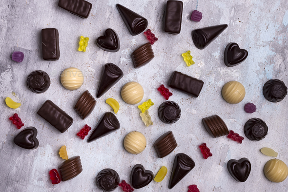 Collection of photos assortment of chocolate candies - Stock Photo - Images