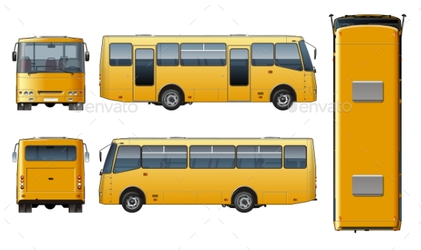 Vector Urban Passenger Mini-bus Mock-up - Man-made Objects Objects